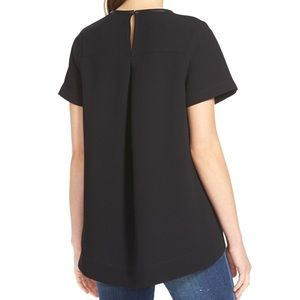 Madewell Tops - MADEWELL Leather Trim Black Tailored Tee Size S